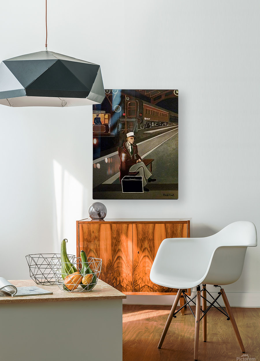 terminus de train  HD Metal print with Floating Frame on Back
