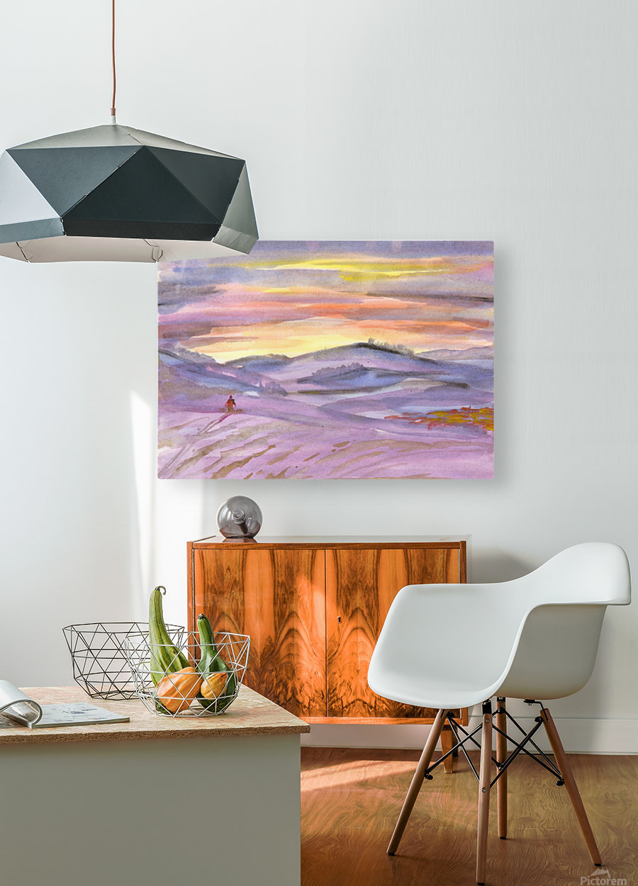Sunset ski trip  HD Metal print with Floating Frame on Back