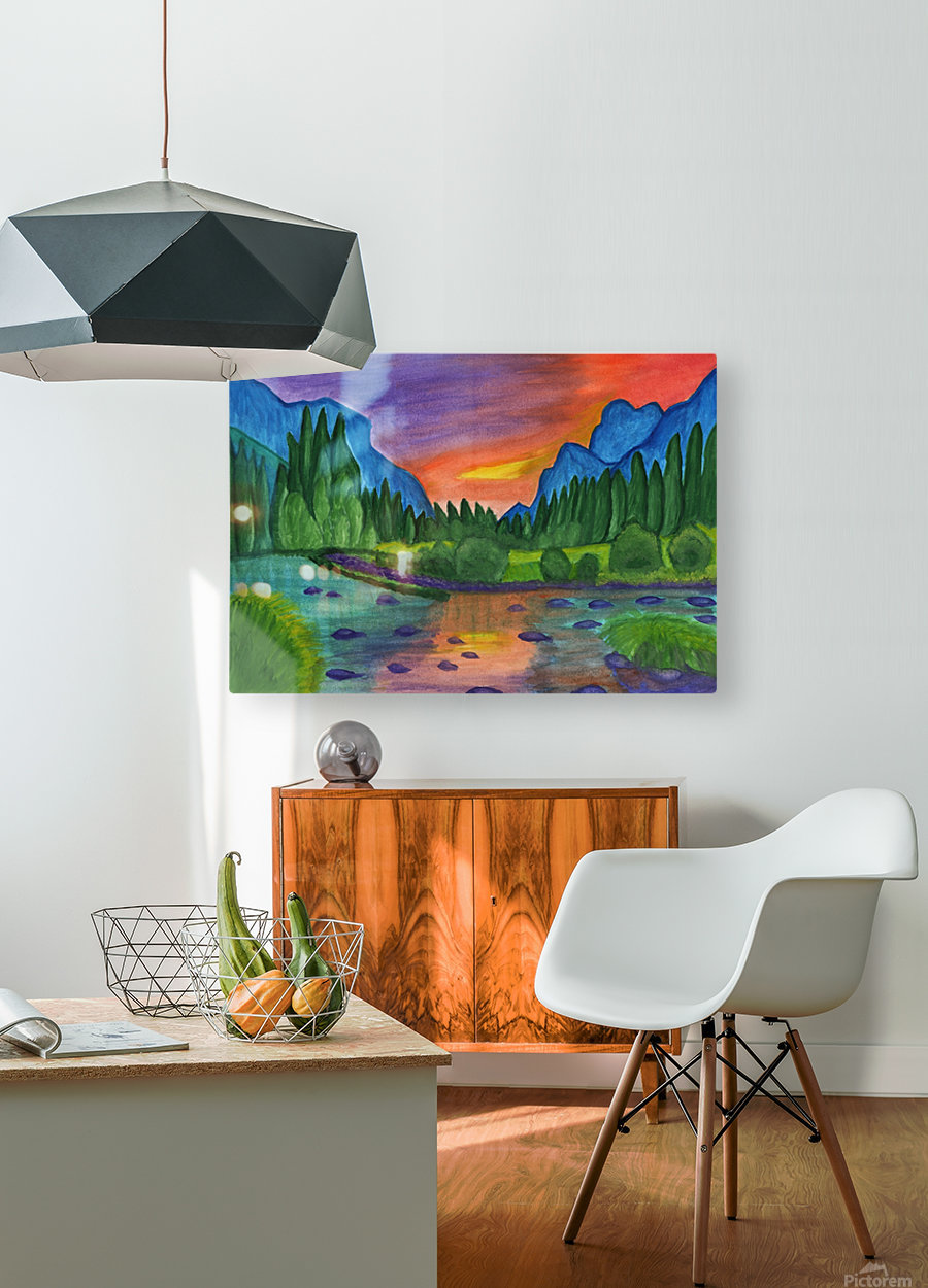 Mountain river in the background of the forest and the blue mountains at sunset  HD Metal print with Floating Frame on Back