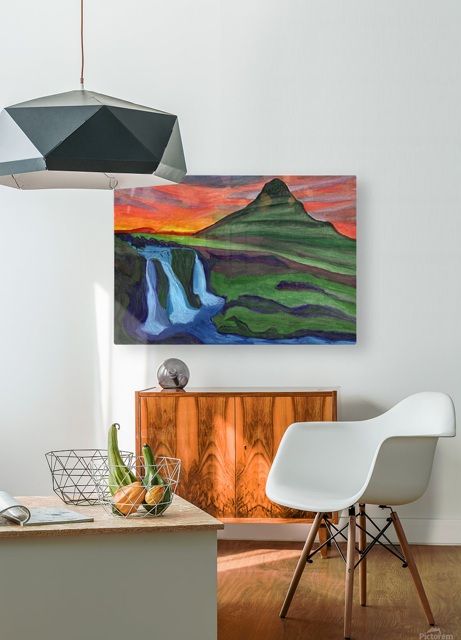 Mountain And Waterfall In The Rays Of The Setting Sun  HD Metal print with Floating Frame on Back