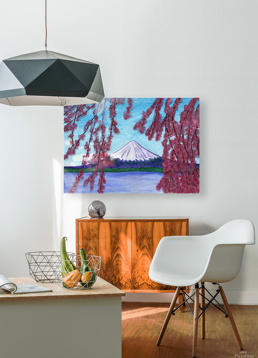 Sakura blooming on the background of a snowy mountain  HD Metal print with Floating Frame on Back
