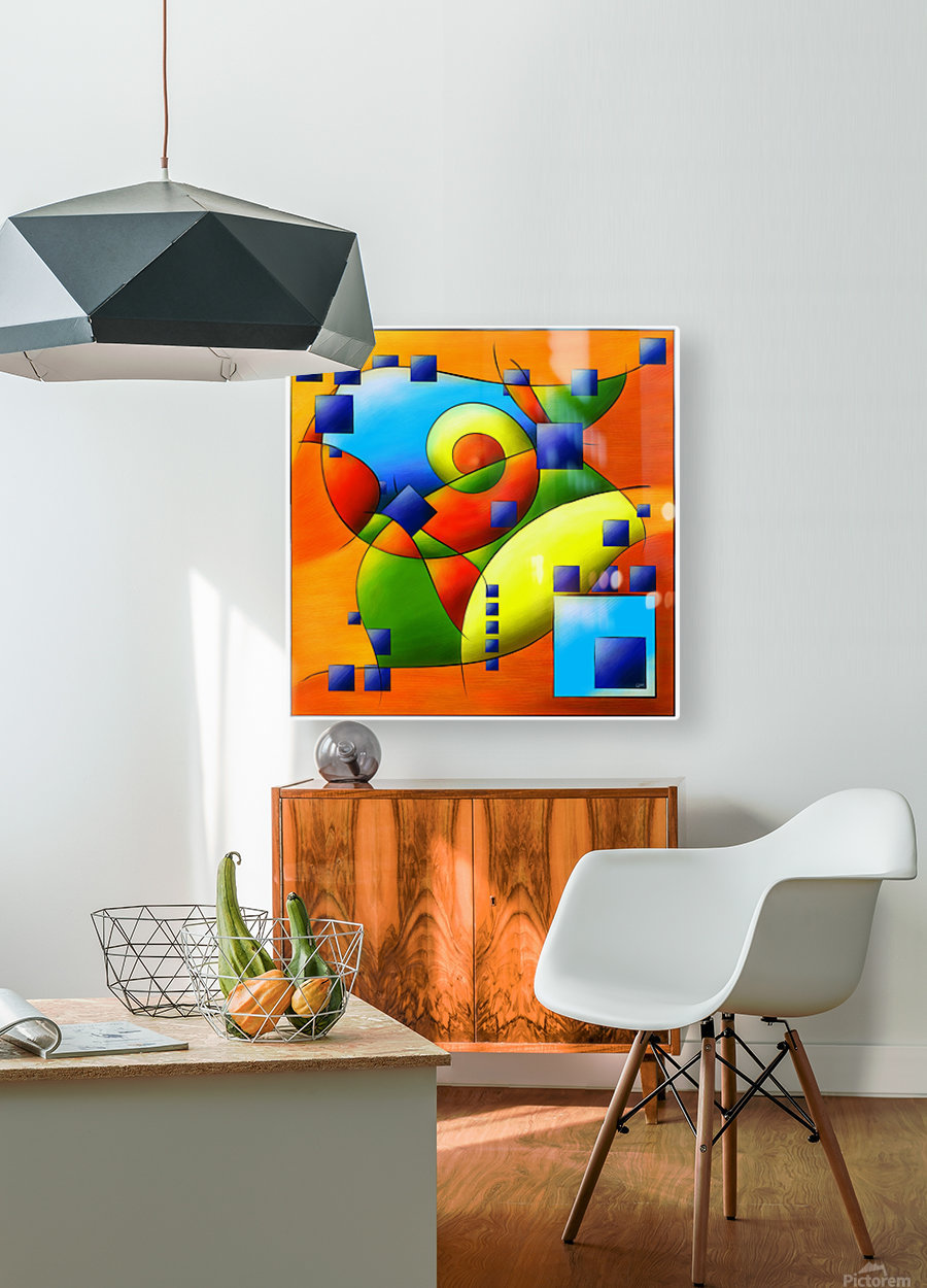 Fantisimella - colourful birdy abstract  HD Metal print with Floating Frame on Back