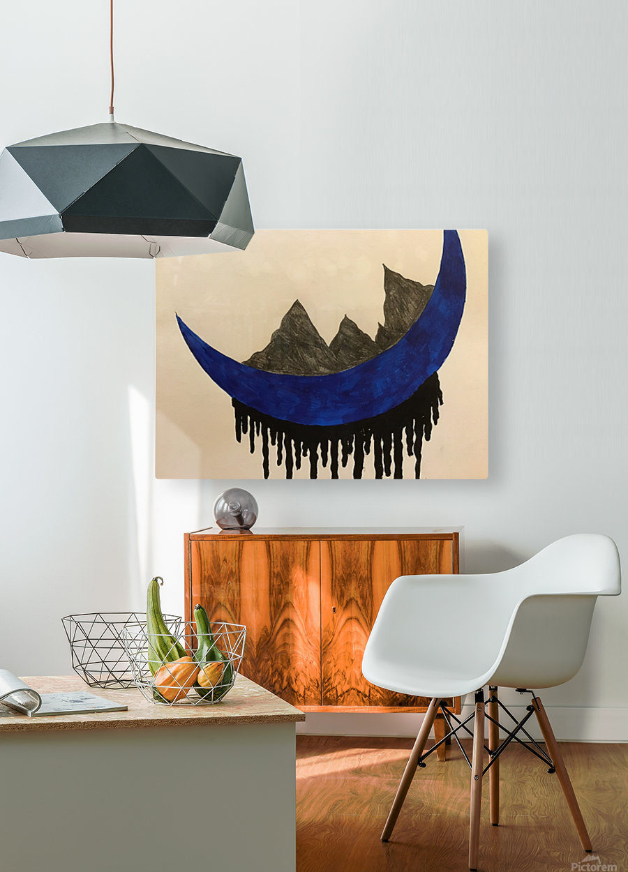 Mountains on the Moon  HD Metal print with Floating Frame on Back