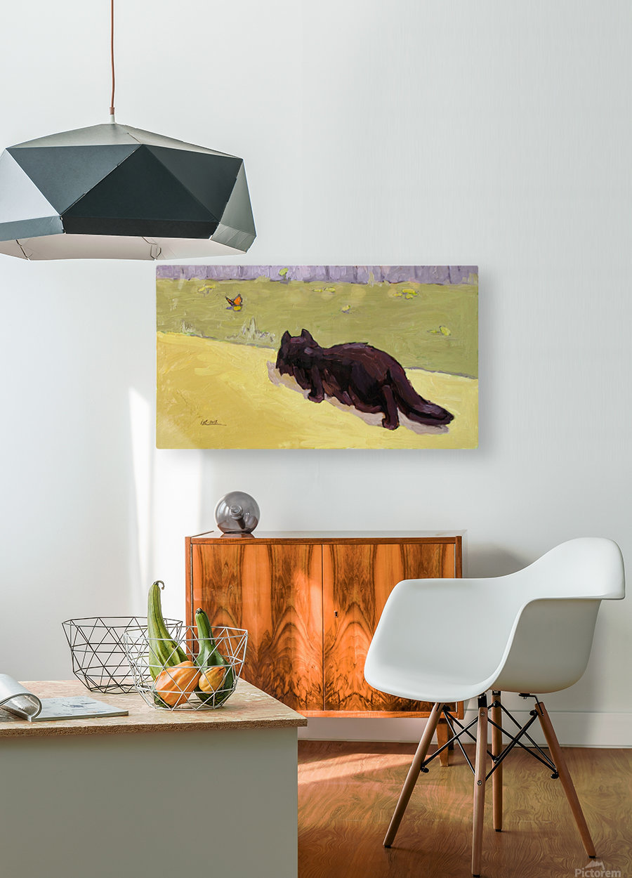 Cat and Butterfly  HD Metal print with Floating Frame on Back
