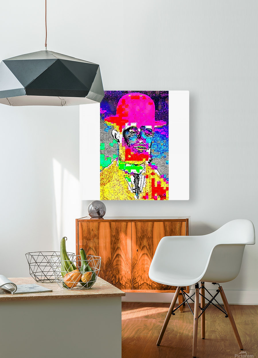 Man with the Pink Bowler Hat by neil gairn adams   HD Metal print with Floating Frame on Back