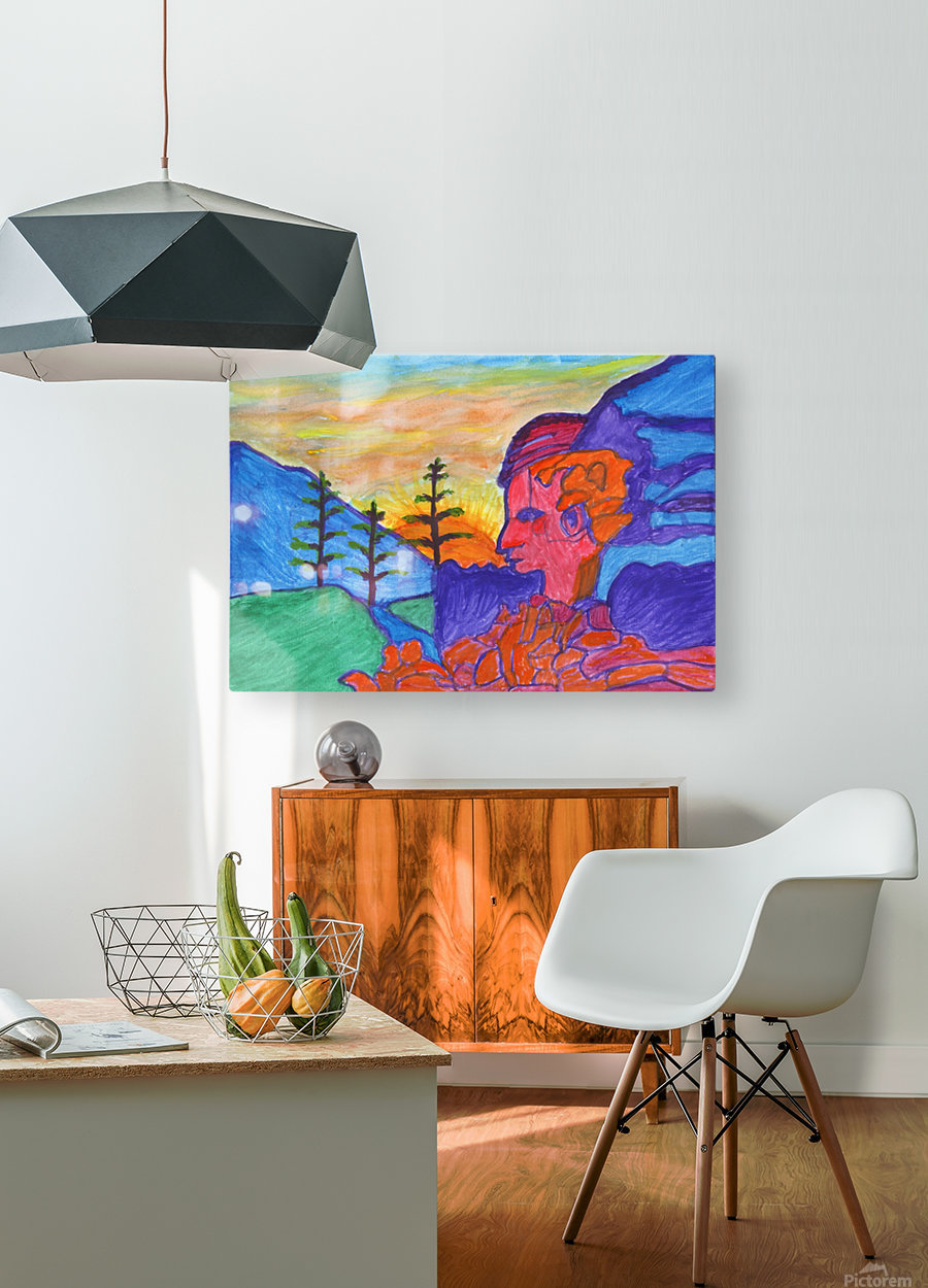 Mystical rock with a profile at sunrise  HD Metal print with Floating Frame on Back