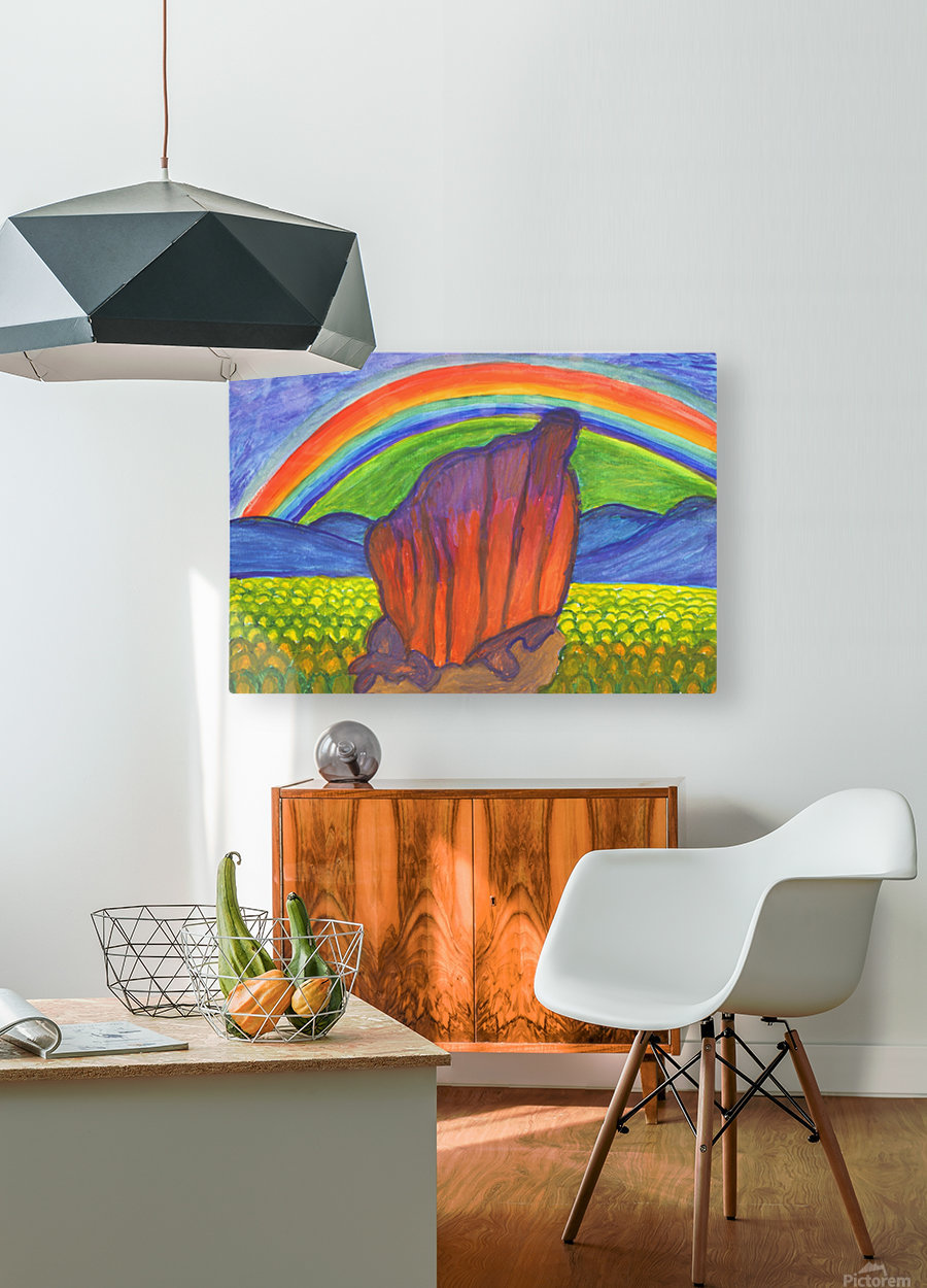 Mystical rock under the rainbow  HD Metal print with Floating Frame on Back