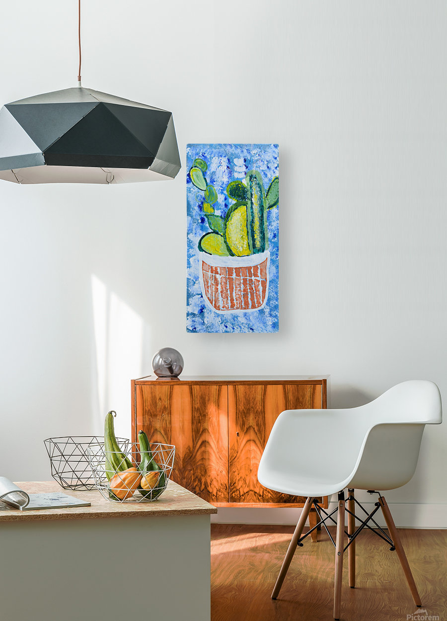 Bluebonnet cactus. Molly H  HD Metal print with Floating Frame on Back