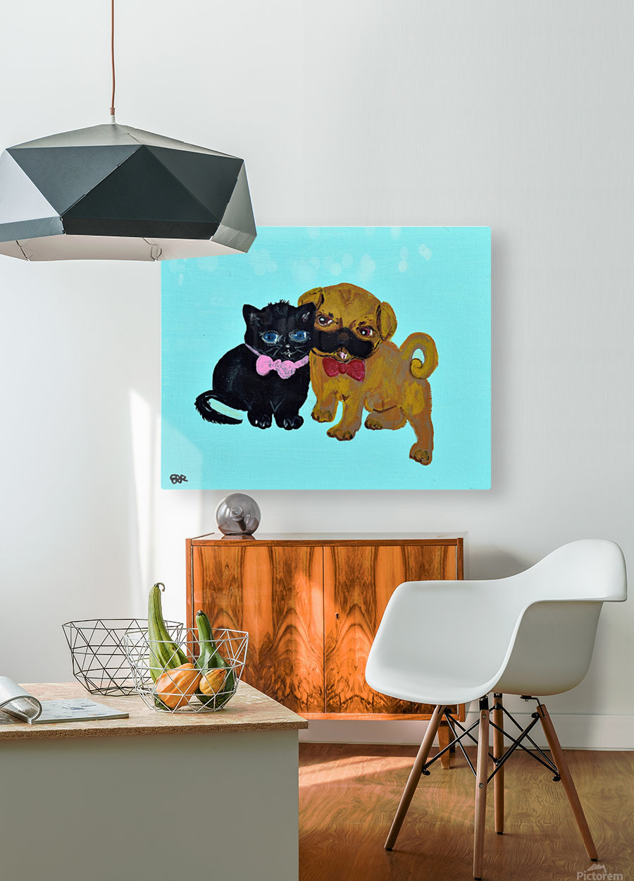 Pugs and Hugs. Erin R  HD Metal print with Floating Frame on Back