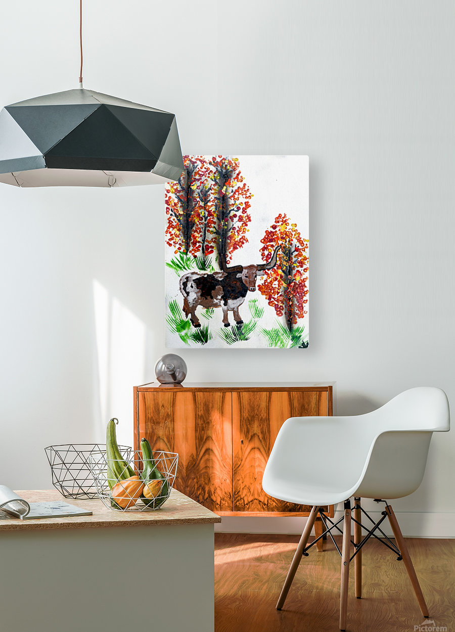 Fall Longhorn. Stephen R  HD Metal print with Floating Frame on Back