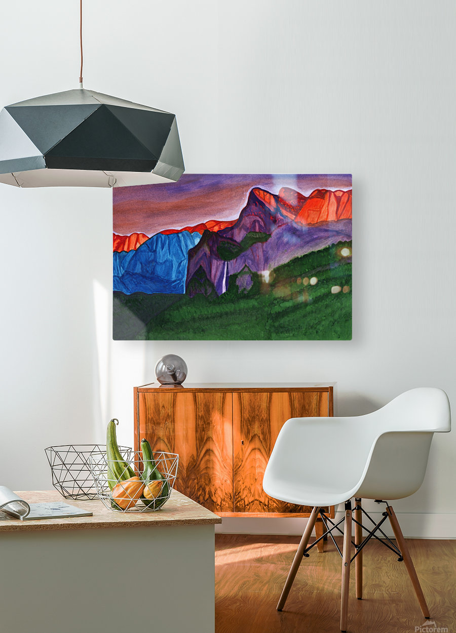 Snowy peaks of the mountains with a waterfall lit up by the orange dawn  HD Metal print with Floating Frame on Back
