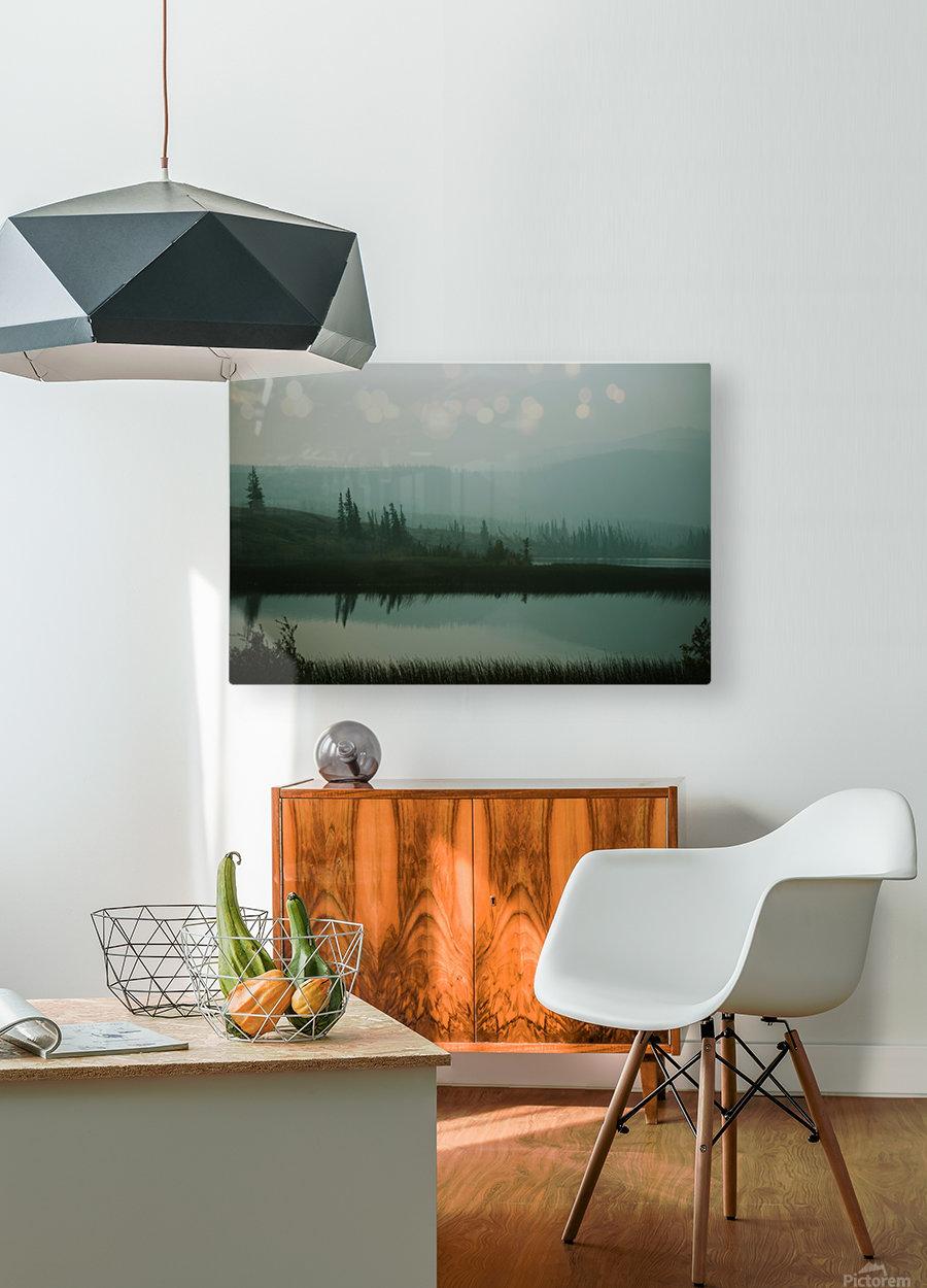 Lac brumeux  Impression métal HD avec cadre flottant sur le dos