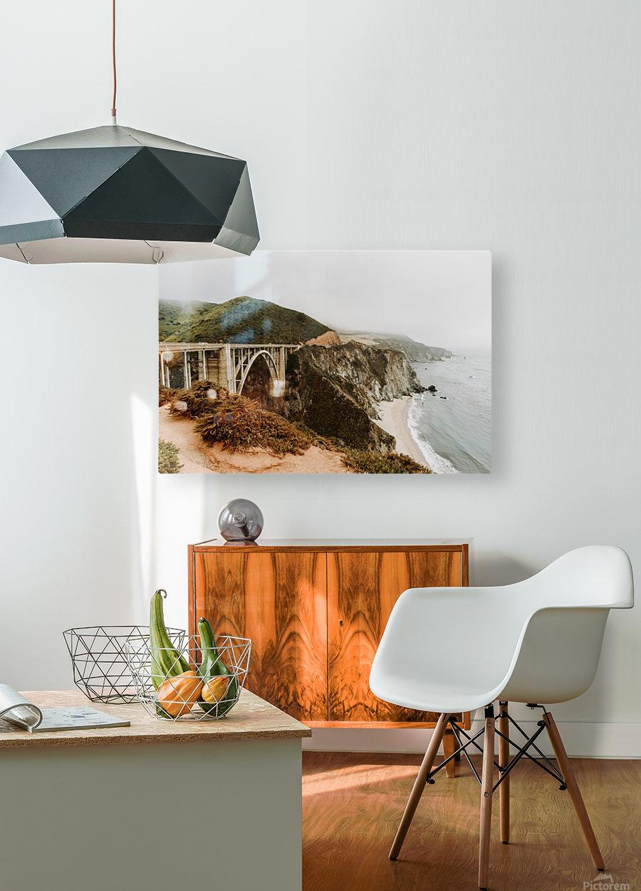 Bixby Bridge California  Impression métal HD avec cadre flottant sur le dos