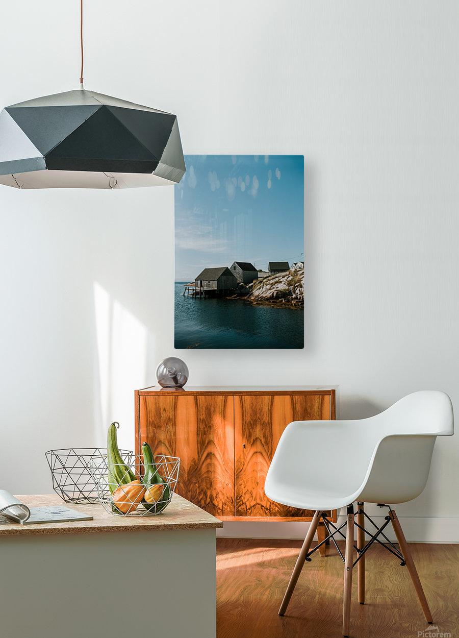Peggys Cove Nova Scotia  Impression métal HD avec cadre flottant sur le dos