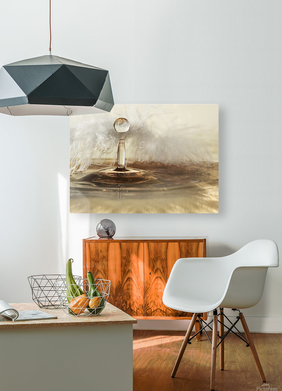 Golden featherdrops  HD Metal print with Floating Frame on Back