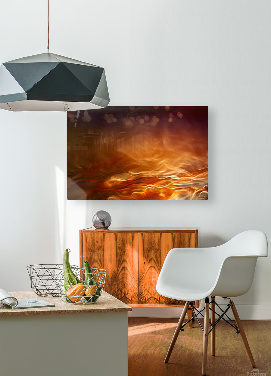 Burning water  HD Metal print with Floating Frame on Back