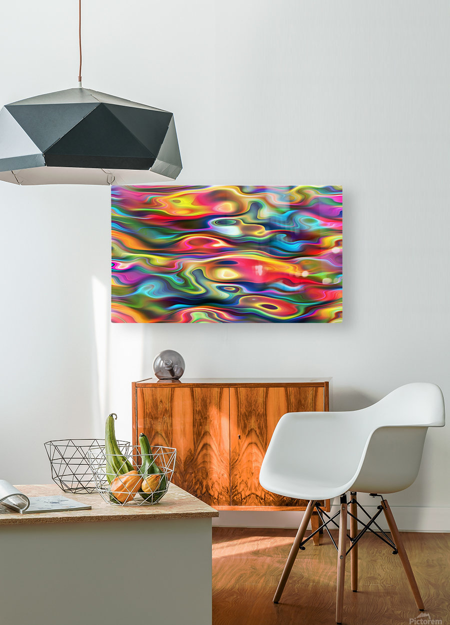 Abstract Colorful Waves  HD Metal print with Floating Frame on Back