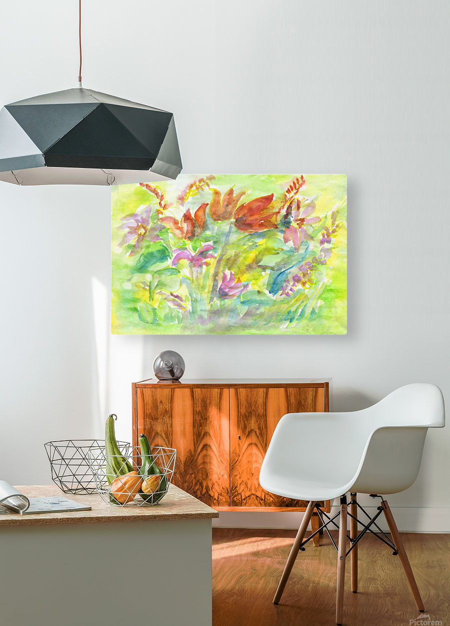 Flowers in the sunny meadow  HD Metal print with Floating Frame on Back