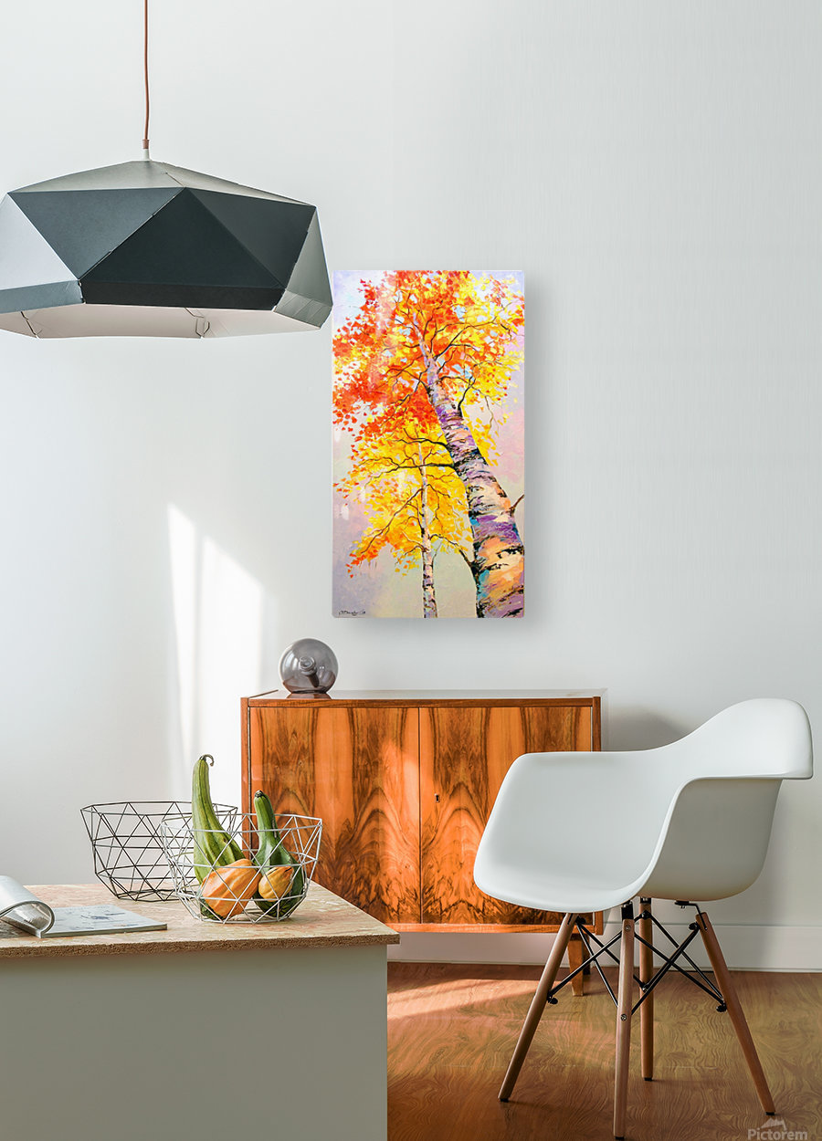 Heavenly birches  HD Metal print with Floating Frame on Back