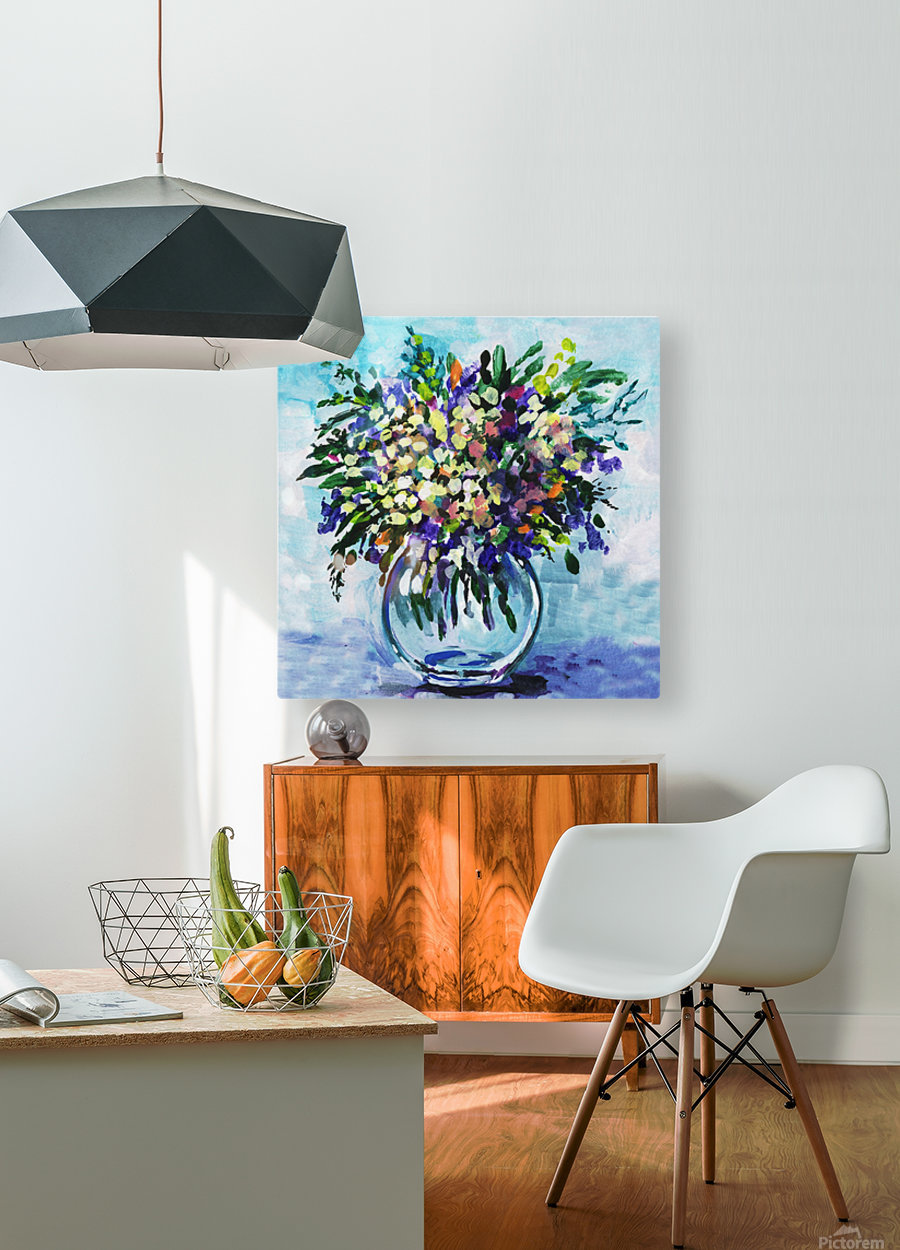 Impressionistic Flowers Burst Of Beauty  HD Metal print with Floating Frame on Back