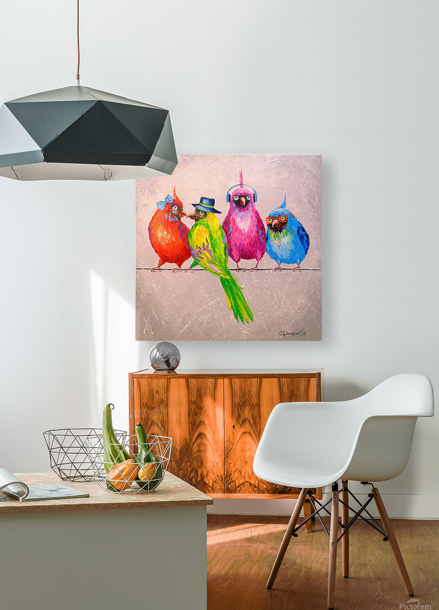 Cheerful company  HD Metal print with Floating Frame on Back