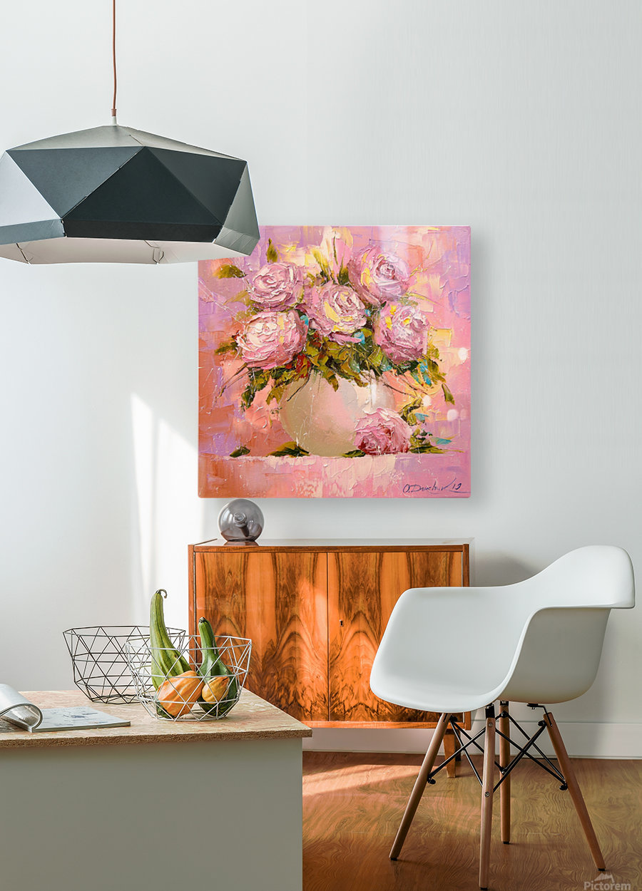 A bouquet of delicate roses  HD Metal print with Floating Frame on Back