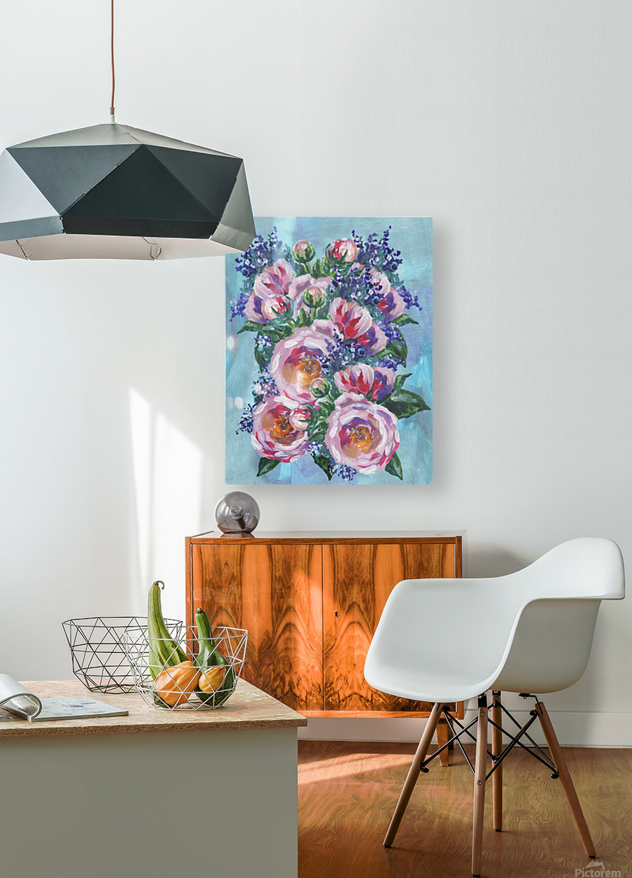 Beautiful Impressionistic Flowers  HD Metal print with Floating Frame on Back