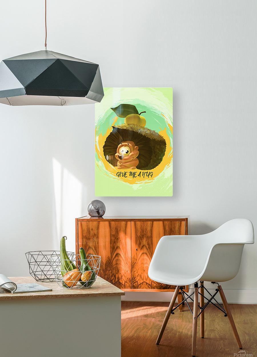 Cute Hedgehog  HD Metal print with Floating Frame on Back