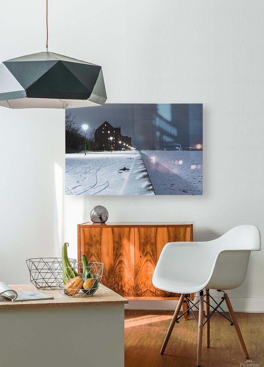 Forzen canal in Copenhagen  HD Metal print with Floating Frame on Back