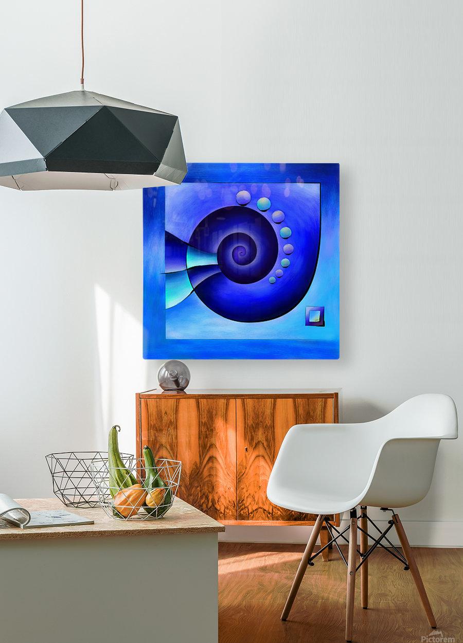 Escanissimera - endlessly limited blue spiral snail  HD Metal print with Floating Frame on Back