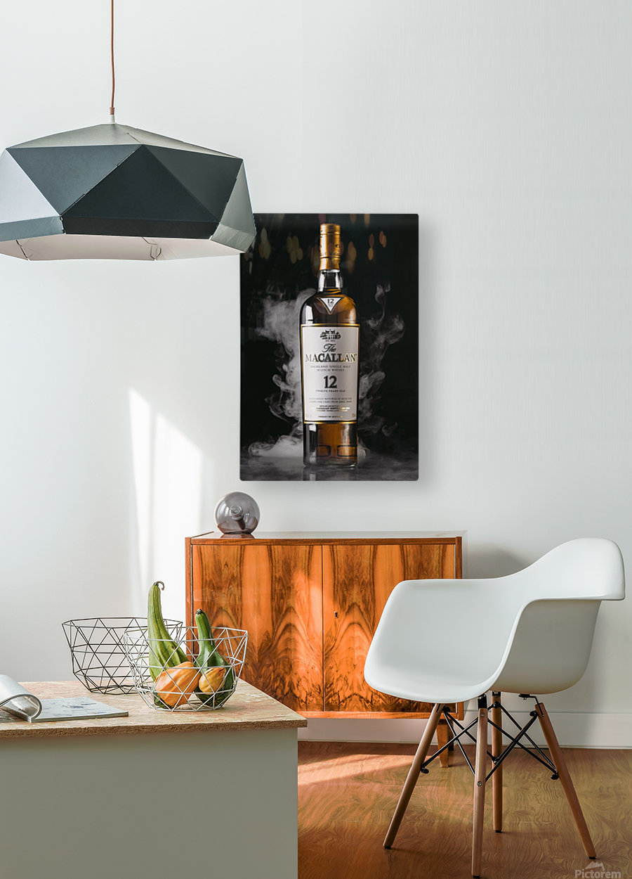 WHISKEY BOTTLE   HD Metal print with Floating Frame on Back