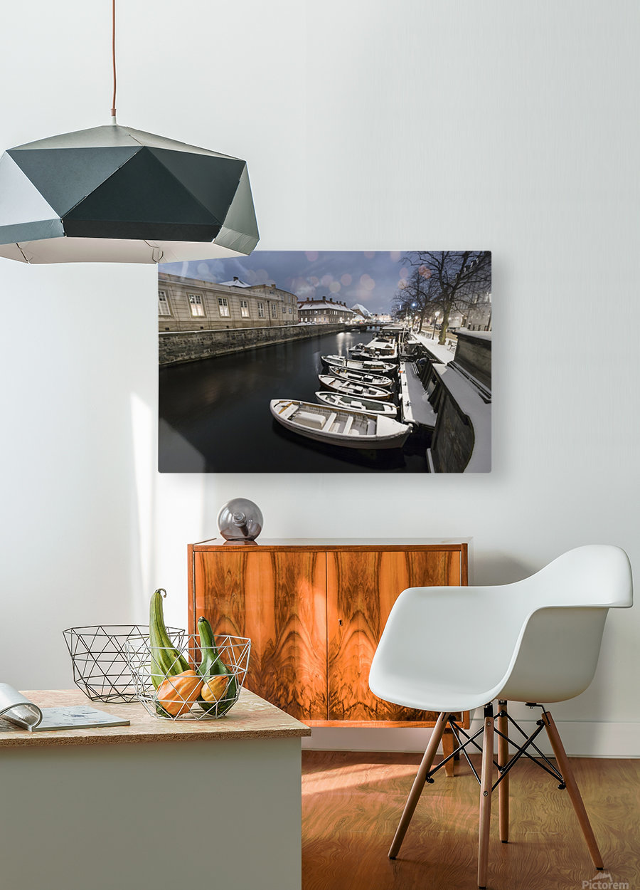 First snow in Copenhagen canal  HD Metal print with Floating Frame on Back