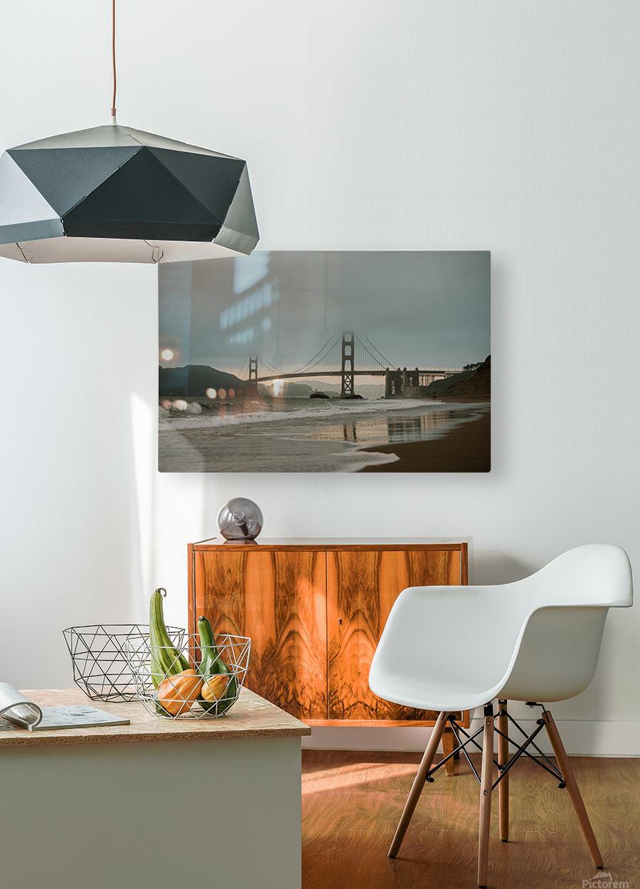 Golden Gate in the smog  Impression métal HD avec cadre flottant sur le dos