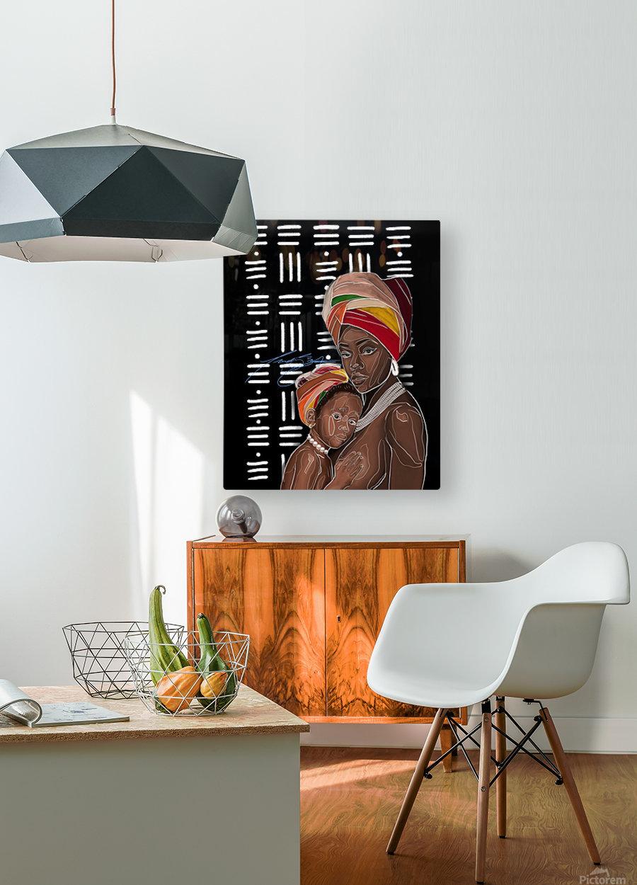 African Motherhood  HD Metal print with Floating Frame on Back