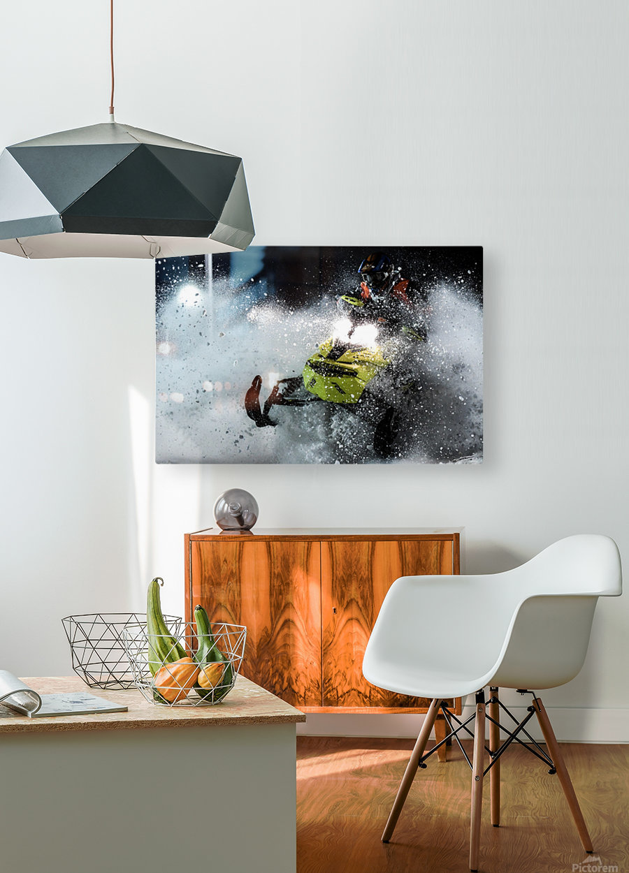 Chez nous c'est Ski-doo   HD Metal print with Floating Frame on Back