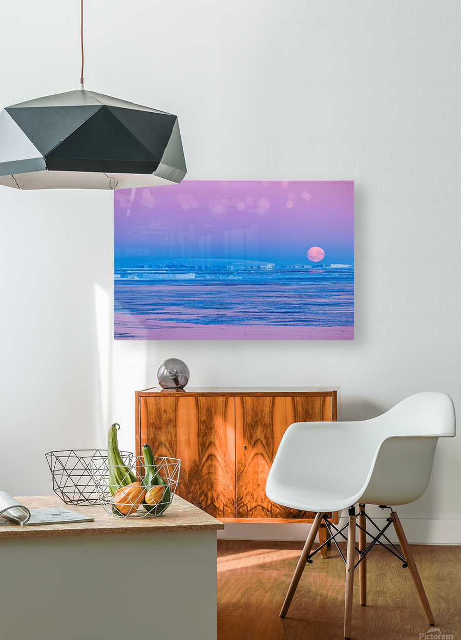 Low Moonset Close Up  HD Metal print with Floating Frame on Back