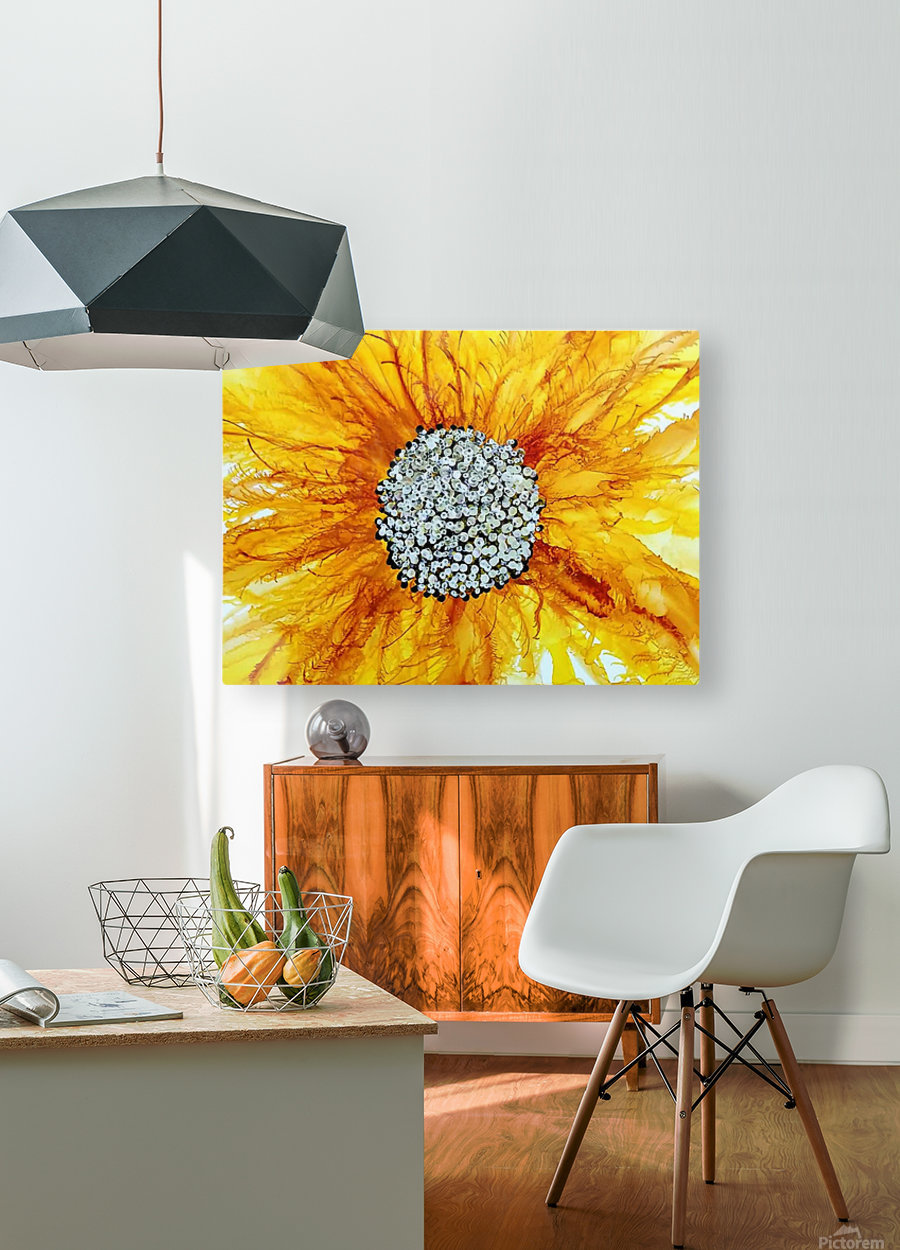 Sunflower  HD Metal print with Floating Frame on Back