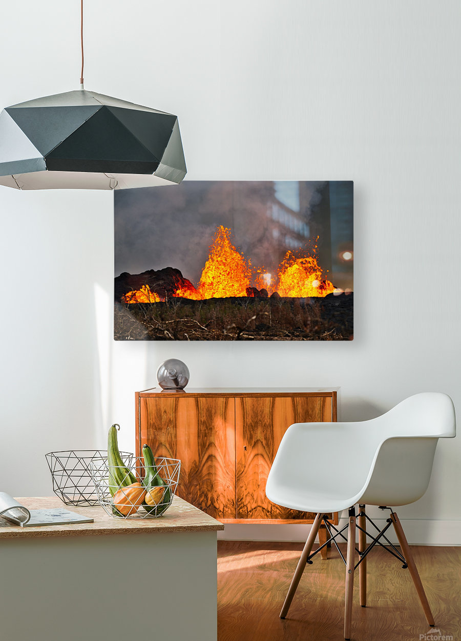 Leilani Estates Lava fountain  HD Metal print with Floating Frame on Back