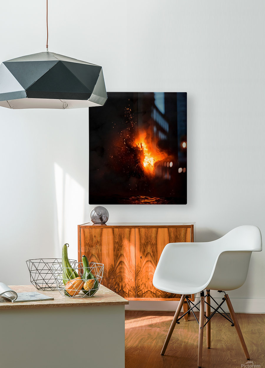Lava explosion  HD Metal print with Floating Frame on Back