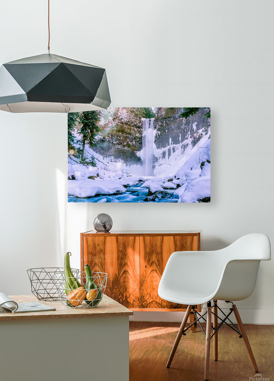 Semi frozen falls  HD Metal print with Floating Frame on Back
