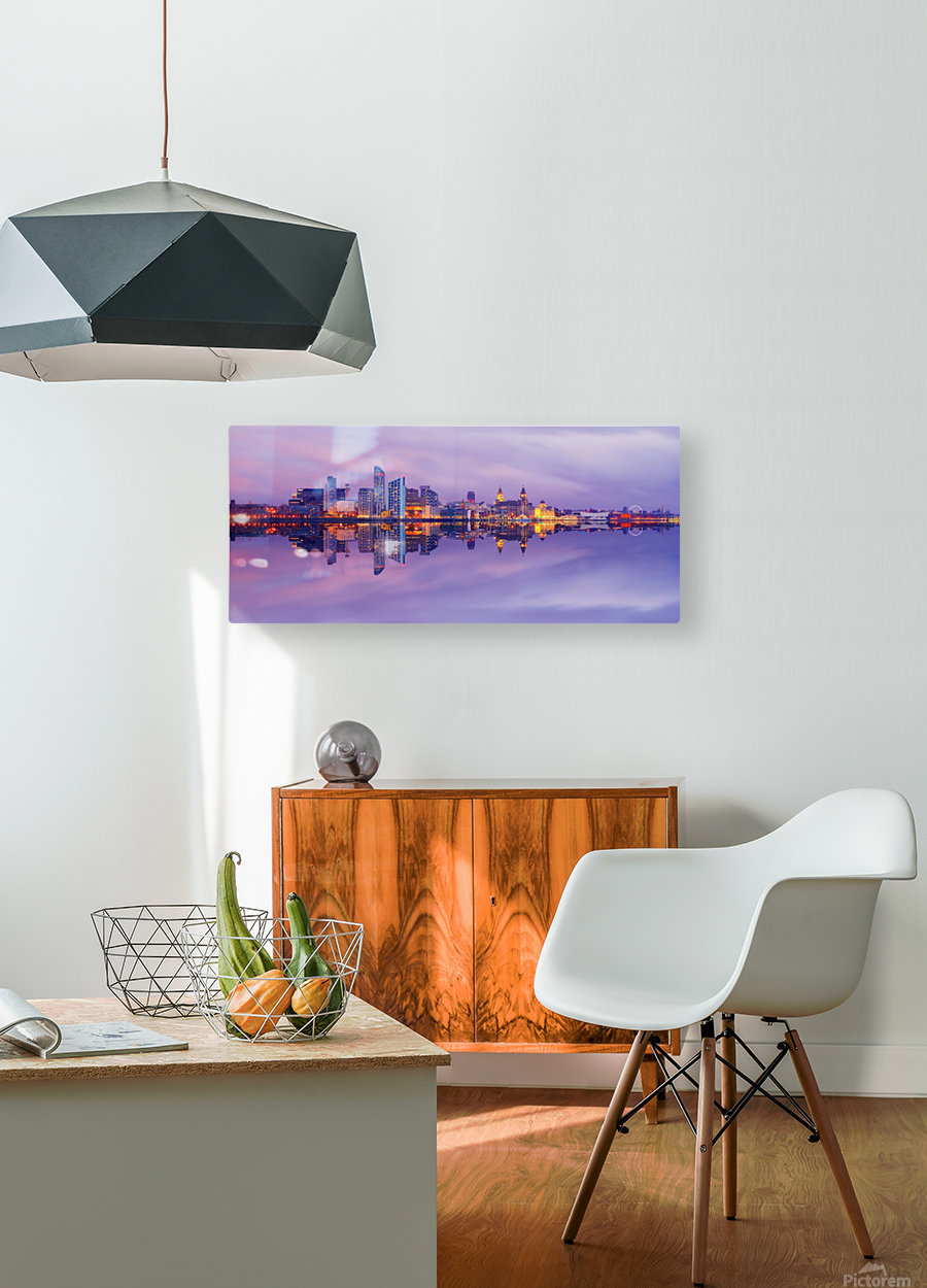 LIV 007 Liverpool Skyline   PANORAMIC  HD Metal print with Floating Frame on Back