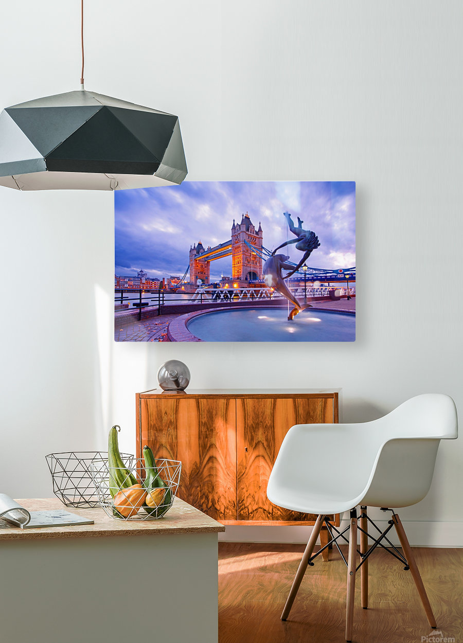 LON 014 Girl with  Dolphin and Tower Bridge  HD Metal print with Floating Frame on Back