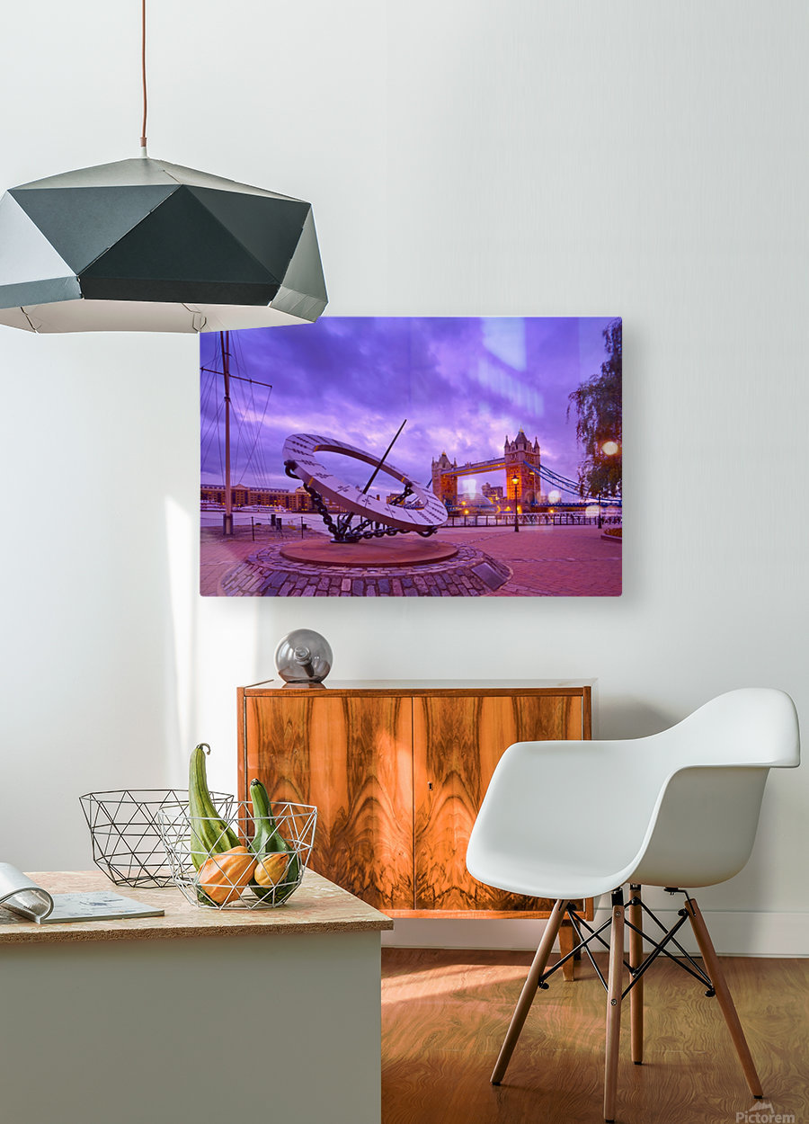 Sundial and Tower Bridge  HD Metal print with Floating Frame on Back