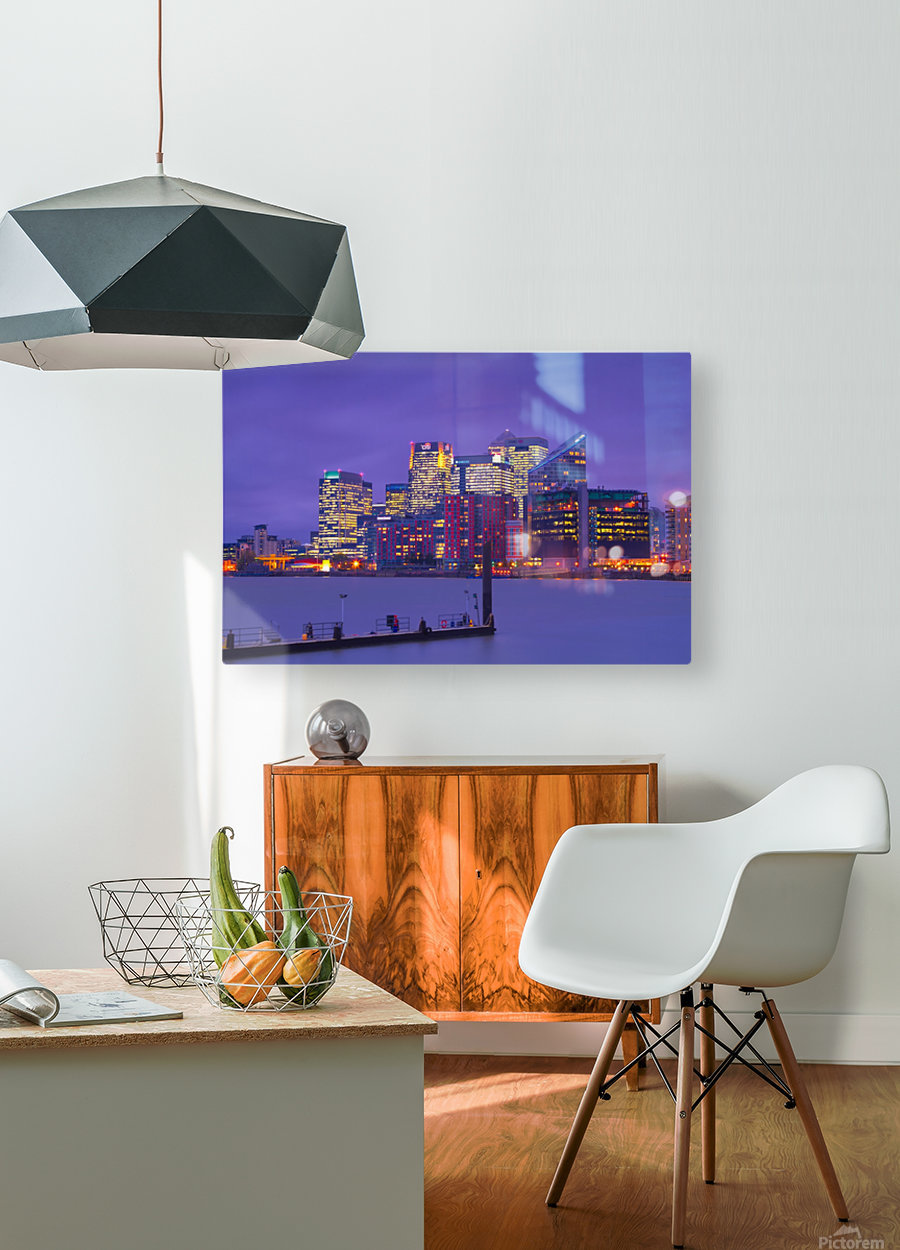 LON 007 Canary Wharf   HD Metal print with Floating Frame on Back