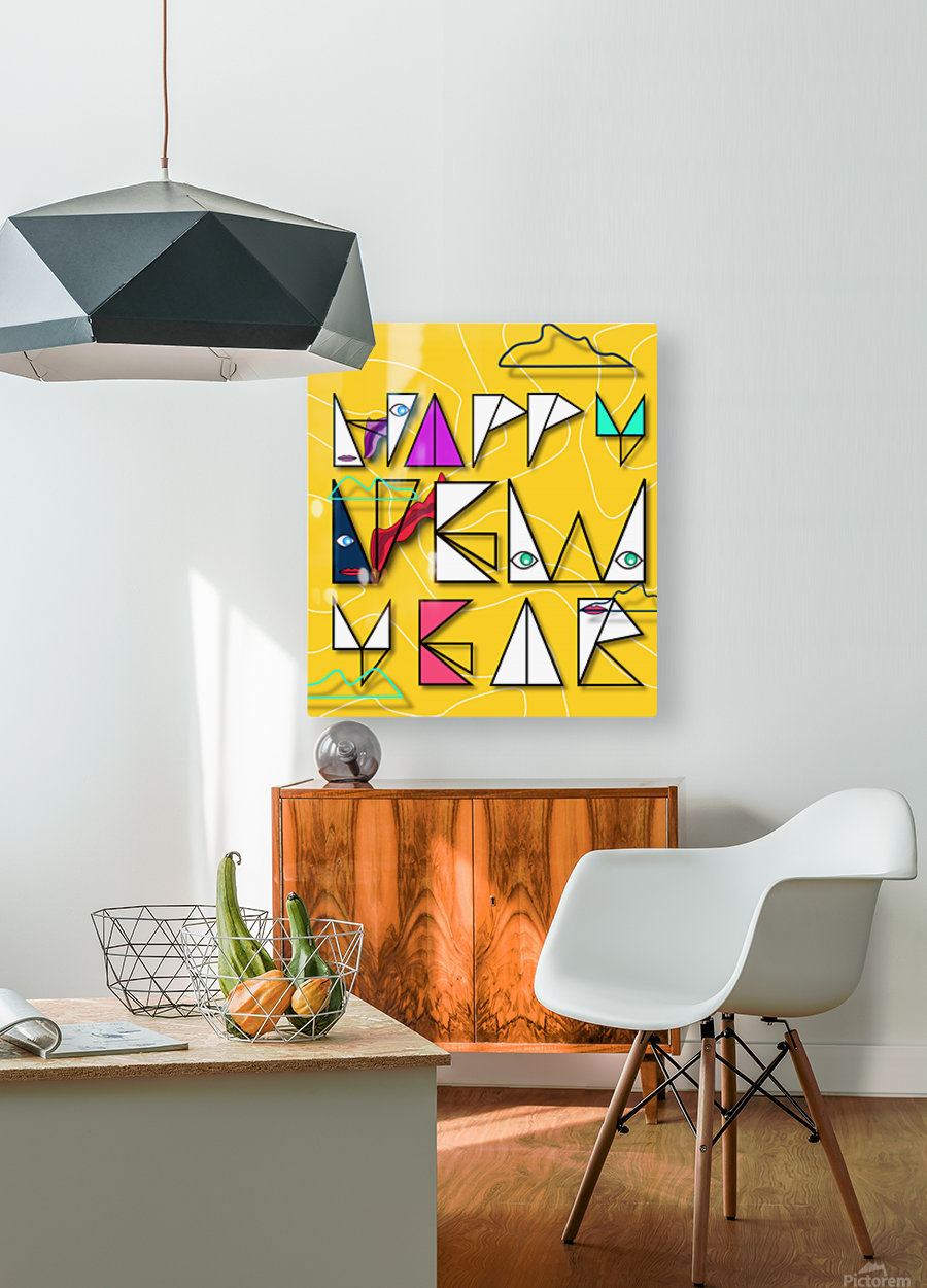 Happy New Year  HD Metal print with Floating Frame on Back