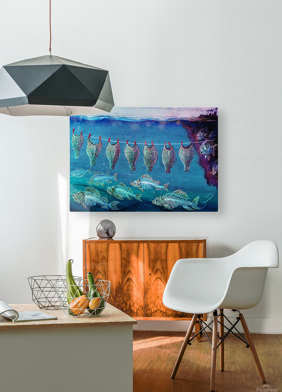 Fish cleaning by Krzysztof Grzondziel  HD Metal print with Floating Frame on Back