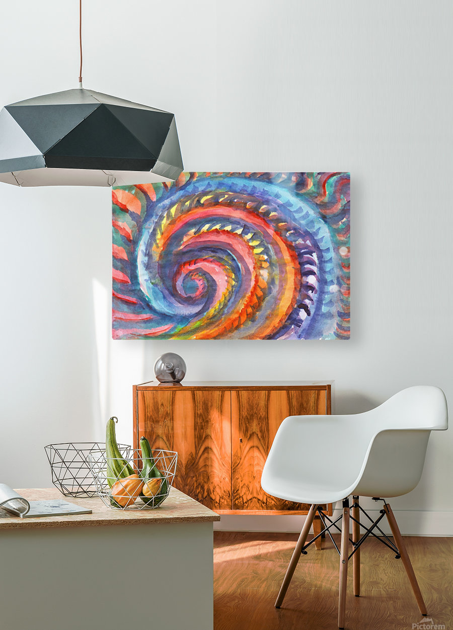 Watercolor abstract spiral staircase  HD Metal print with Floating Frame on Back