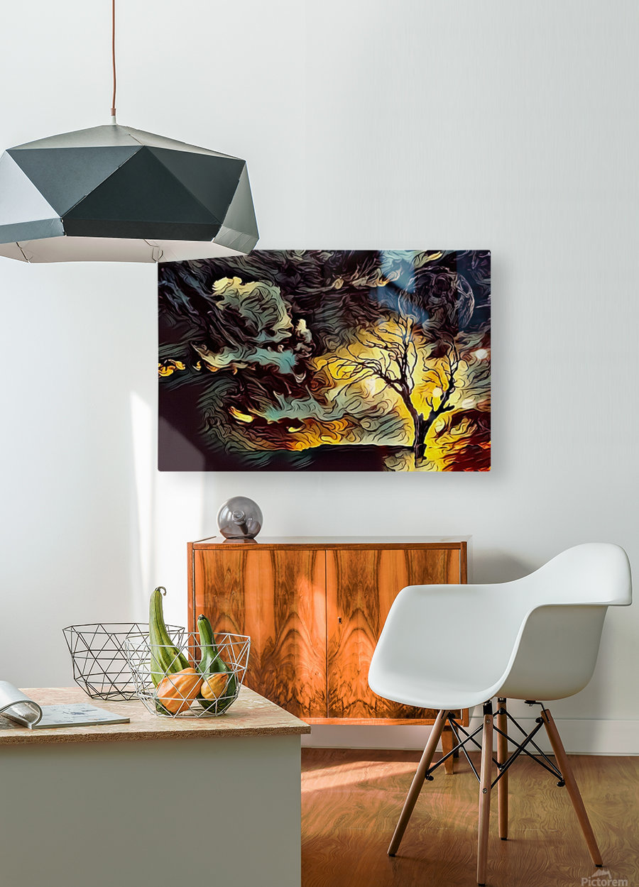 Lonely Tree  HD Metal print with Floating Frame on Back