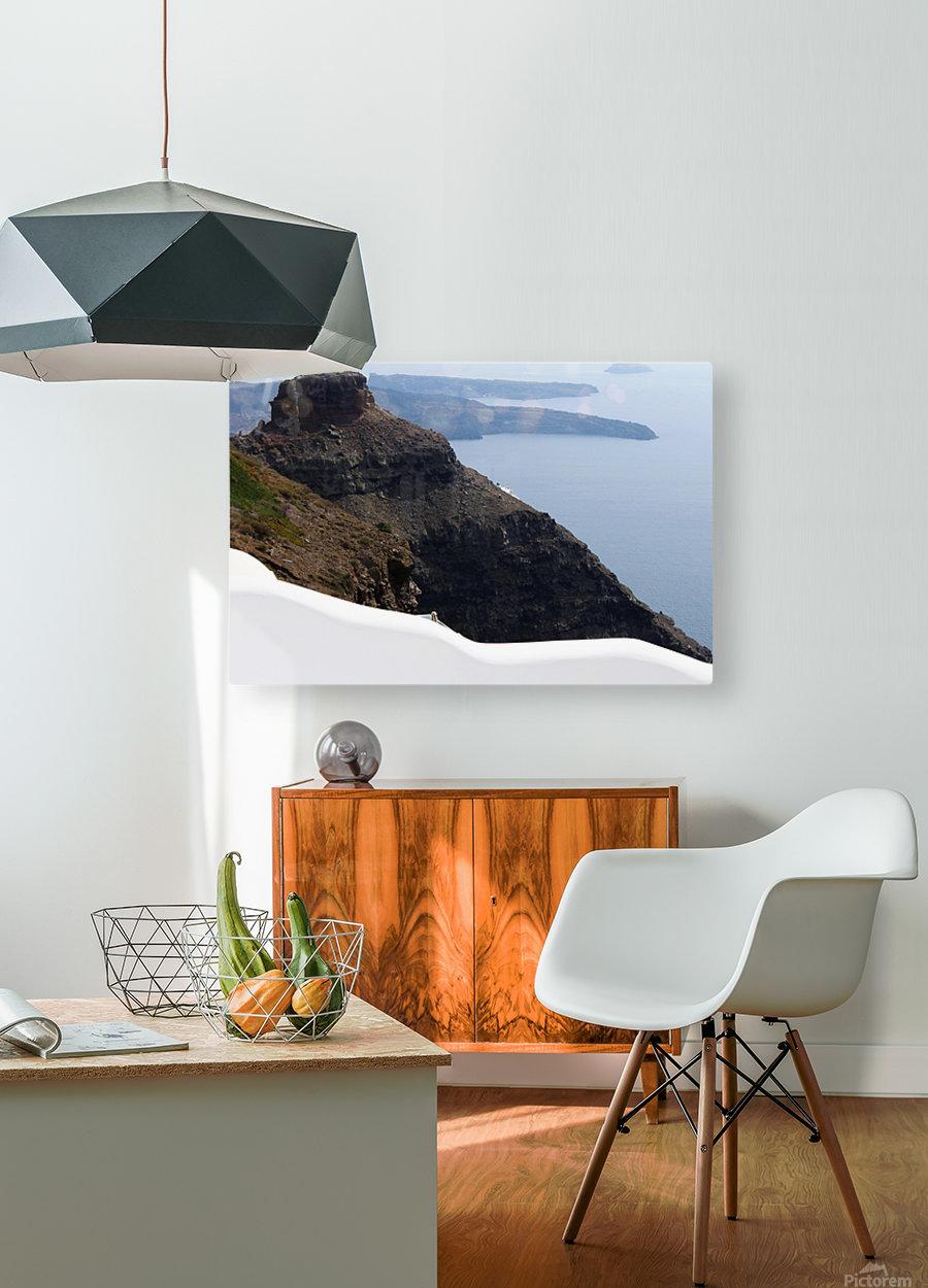 Skaros Rock - Santorini  HD Metal print with Floating Frame on Back