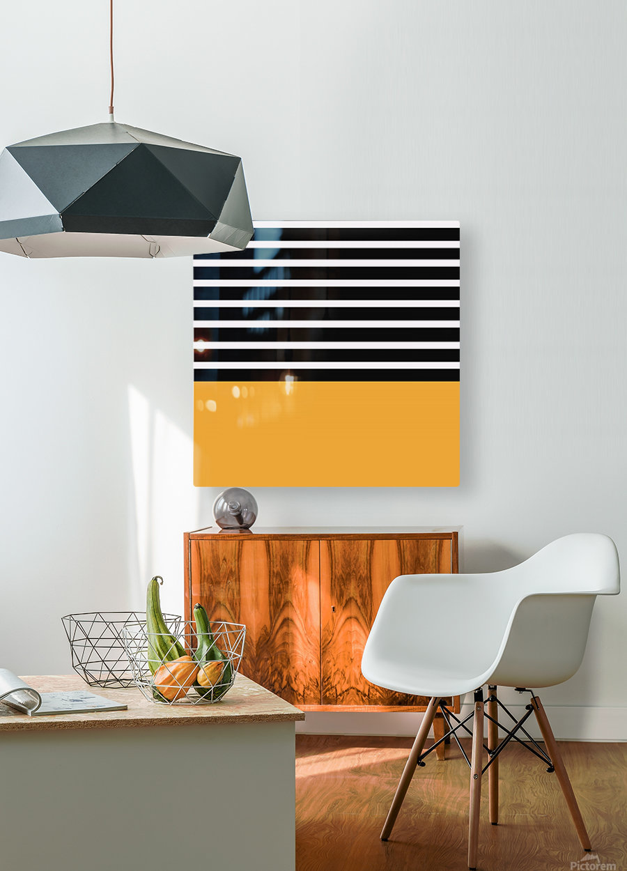 Black & White Stripes with Honey Patch  HD Metal print with Floating Frame on Back